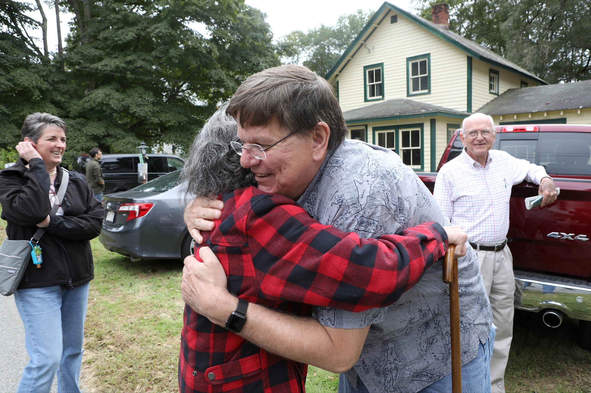 Gary Treible, 60, hugs Ann Dunn in Walpack, where they both used to live. When Treible was growing up in the small Sussex County town, Dunn's son was his best friend. Sunday, September 23, 2018.