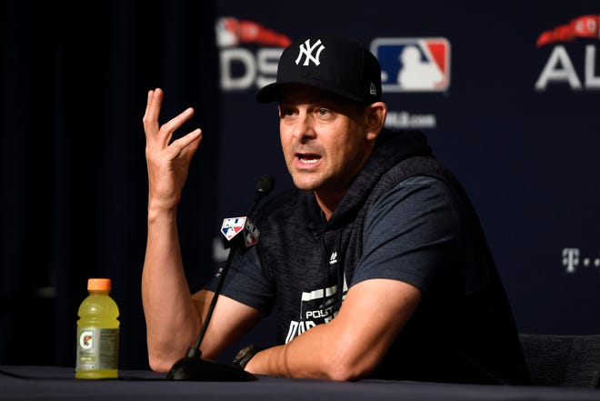New York Yankees manager Aaron Boone answers a question during a press conference before Game 4 of the American League Division Series against the Boston Red Sox on Tuesday, Oct. 9, 2018, in New York.