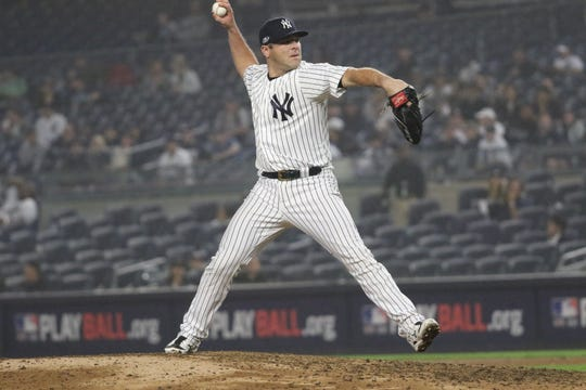 Austin Romine, who usually catches, came in as a relief pitcher for the Yankees in the ninth inning. Monday, October 8, 2018