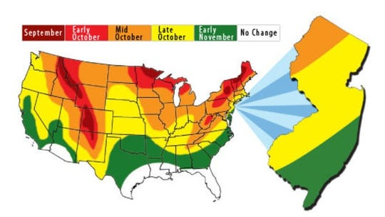 The New Jersey Division of Parks and Forestry have put out a map of when leaves are expected to change color.