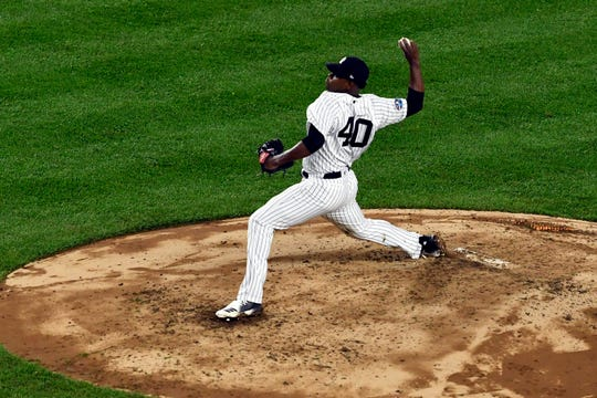 New York Yankees' Luis Severino pitches to the Boston Red Sox in Game 3 of the American League Division Series on Monday, Oct. 8, 2018, in New York.