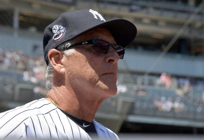 New York Yankees' Bucky Dent waits to be introduced at the Yankees Old Timers' Day baseball game Sunday, June 17, 2018, at Yankee Stadium in New York. (AP Photo/Bill Kostroun)