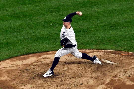 New York Yankees pitcher Chad Green pitches against the Boston Red Sox in Game 3 of the American League Division Series on Monday, Oct. 8, 2018, in New York.