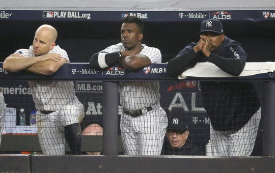 Somber faces filled the Yankees dugout as they lose, 16-1 in the Bronx. Monday, October 8, 2018