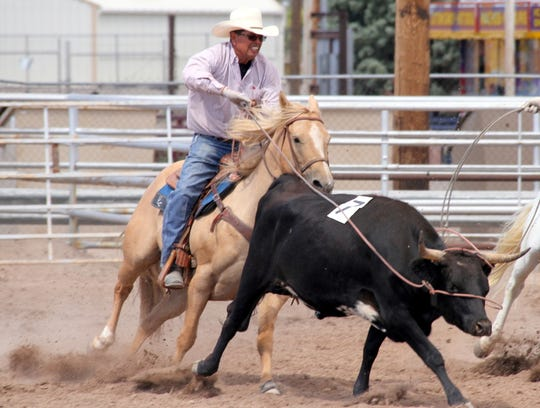 Manuel Sandoval ropes during the ranch rodeo.
