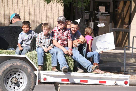 The Luna County 4-H float carried many of the junior livestock show competitors during the fair parade.