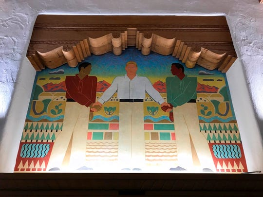 This Great Depression-era mural at the University of New Mexico's Zimmerman Library is the focus of complaints about the depiction of Hispanics and Native Americans, in Albuquerque, N.M., Monday, Oct. 8, 2018.