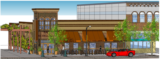 A building rendering shows Rad Retrocade, a new restaurant, bar and arcade slated to open next to the historic Rio Grande Theatre in downtown Las Cruces.