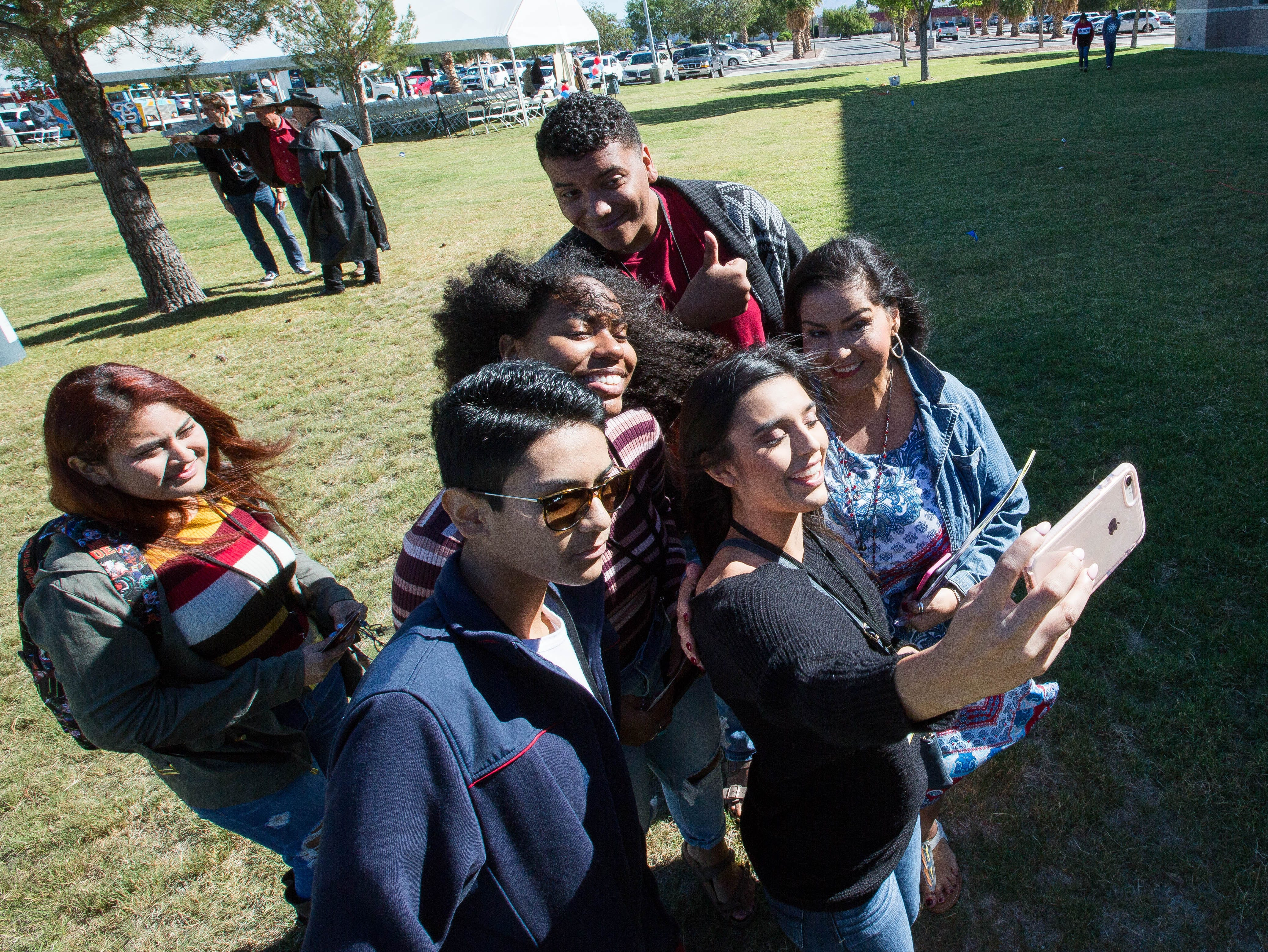 Amanda Askin, Doña Ana County Clerk, right, takes a photo with a group of students from Mayfield High School, Tuesday Oct. 9, 2018 at the Doña Ana County Government Center during the Celebrating Democracy event, held for around 300 seniors from area high schools.
