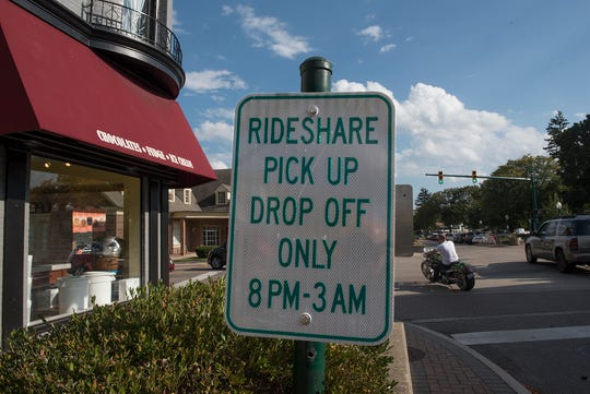 This spot on Penniman Avenue in Plymouth, next to Kilwins, is a pick-up and drop-off point for Uber and Lyft ride-share services.