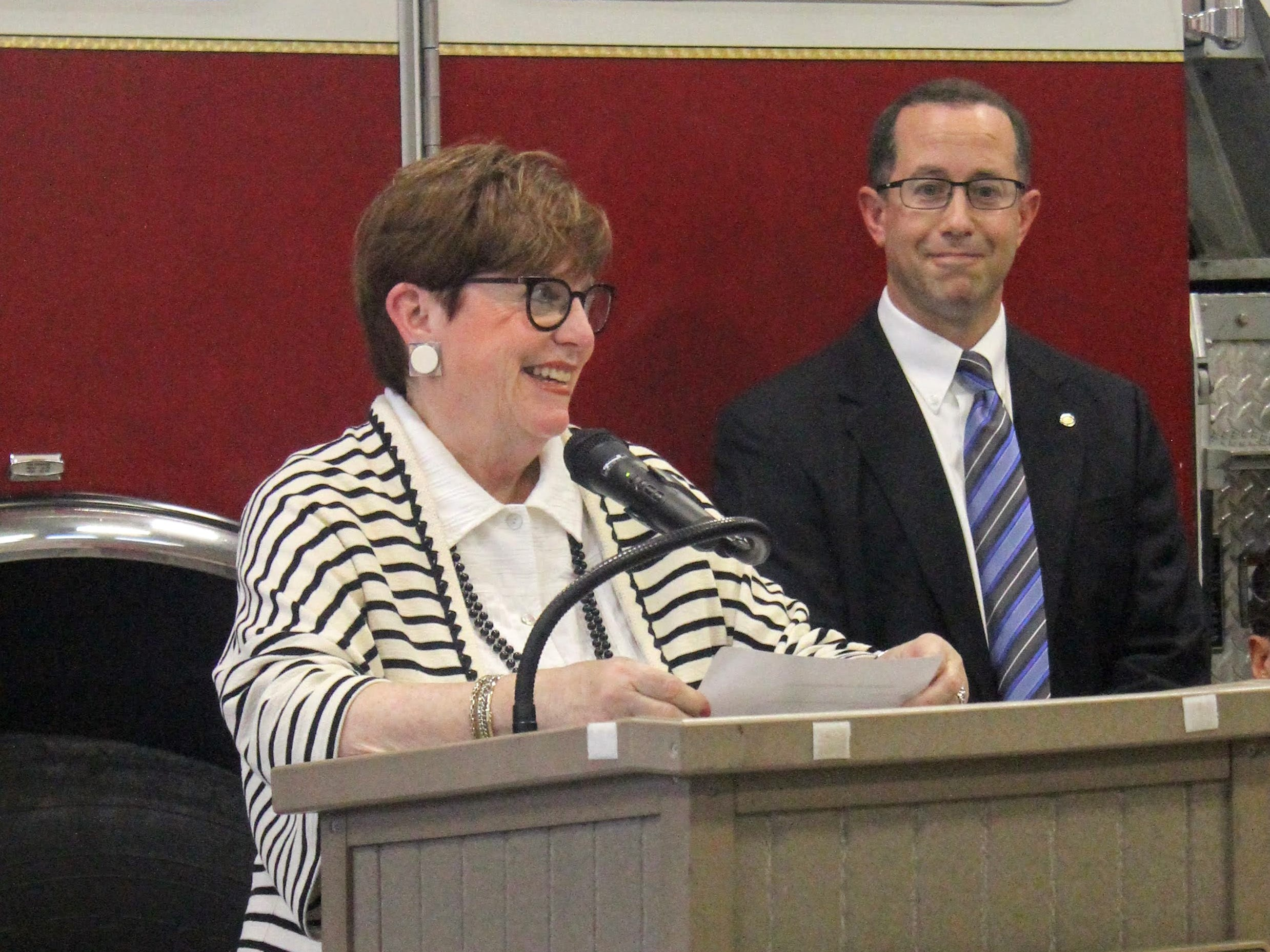 Mayor Pro Tem Patty Bordman speaks while City Manager Joe Valentine listens.