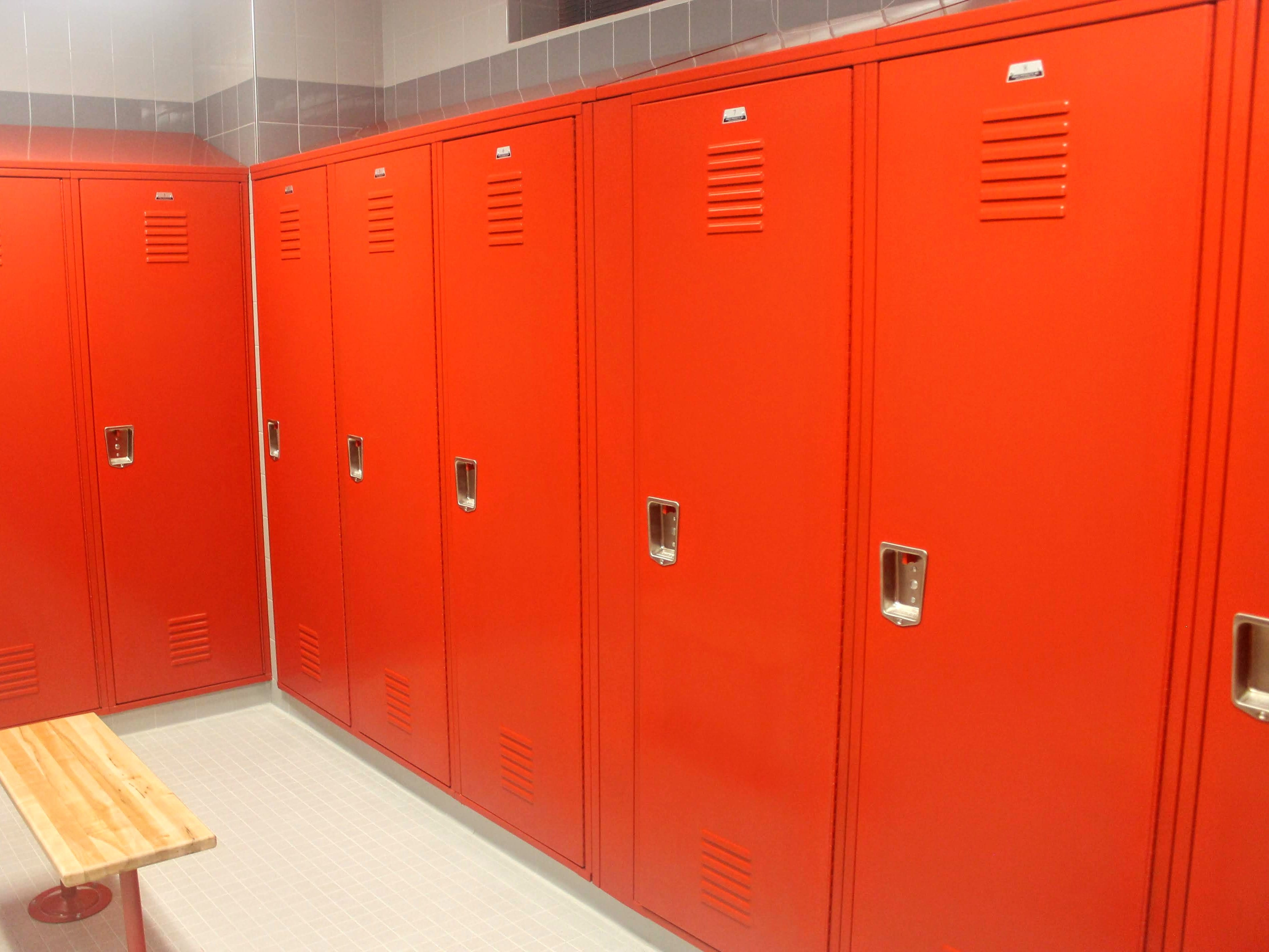 The men's locker room in the fire station. The new building has locker rooms for both male and female firefighters.