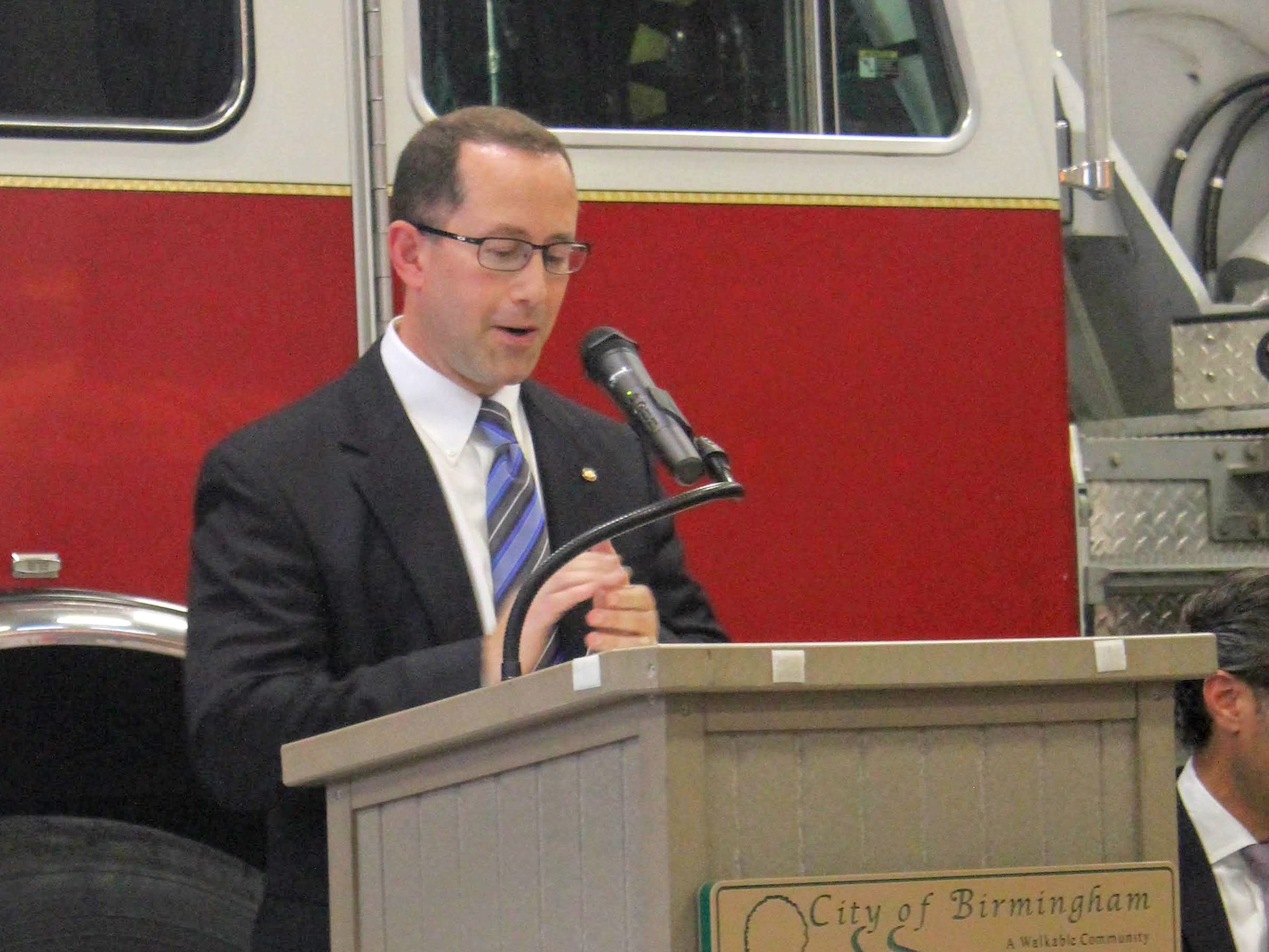 Birmingham City Manager Joe Valentine speaks at the Chesterfield Fire Station grand opening Oct. 8.
