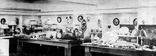 This historical photograph depicts the interior of the old Heymann's Department Store in downtown Opelousas.