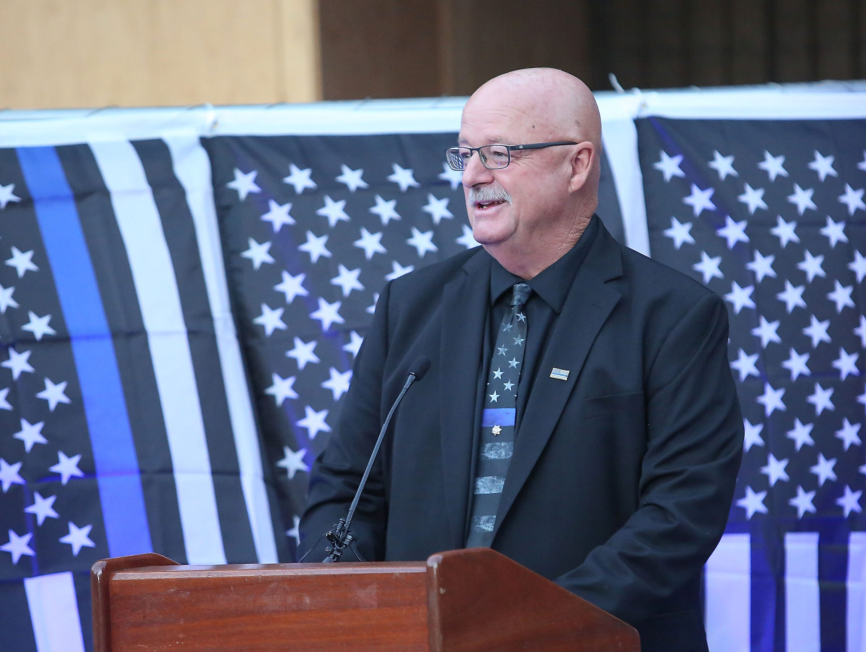 David Kling father of Lesley Zerebny speaks during a vigil at the Palm Springs Police Department commemorating the two-year anniversary of her passing, October 8, 2018.