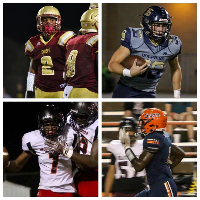 PNJ Offensive Player of the Week nominees include Northview's Jayden Jackson (top left), Gulf Breeze's Tyler Dittmer (top right), West Florida's Keion Burrell (bottom left) and Escambia's Frank Peasant (bottom right).