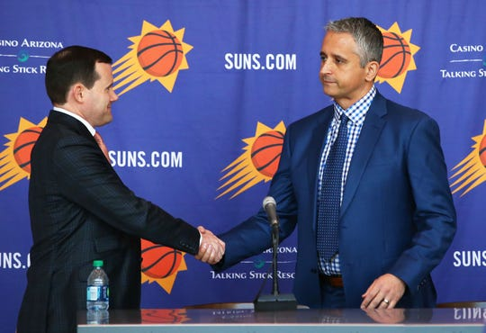 Suns General Manager Ryan McDonough welcomes new head coach Igor Kokoskov (center) during a press conference on May 14, 2018 at Taking Stick Resort Arena in Phoenix, Ariz.