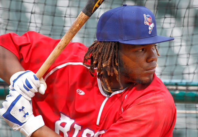 Buffalo Bisons' Vladimir Guerrero Jr. takes batting practice prior to a minor league baseball against the Lehigh Valley IronPigs in Buffalo, N.Y., Tuesday, July 31, 2018. Guerrero Jr., the son of Hall of Famer Vladimir Guerrero, is making his triple-A debut with the Toronto Blue Jays' top affiliate on Tuesday.