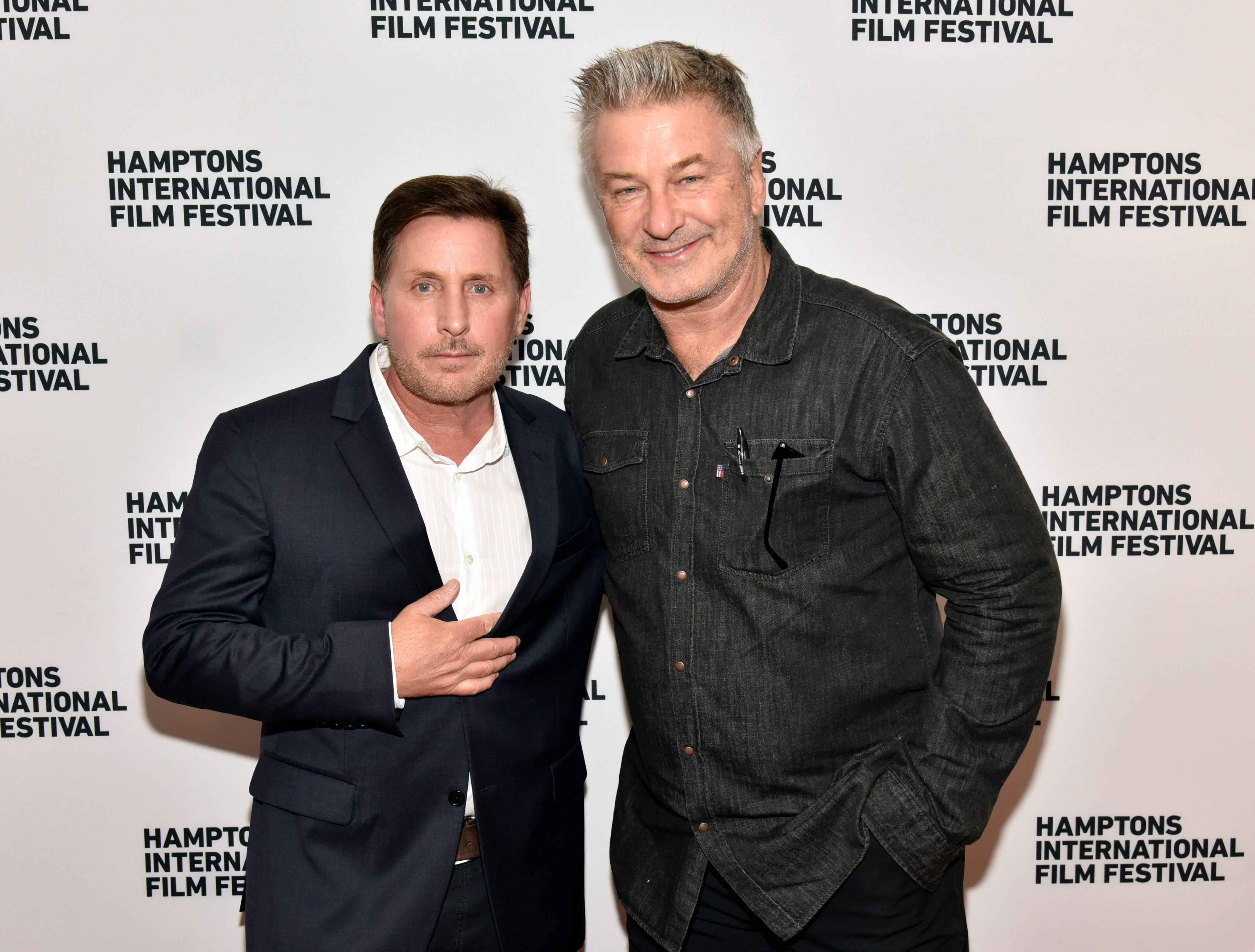 Emilio Estevez (left) and HIFF co-chairman Alec Baldwin attend the Hamptons International Film Festival 2018 on October 6, 2018 in Sag Harbor, New York.