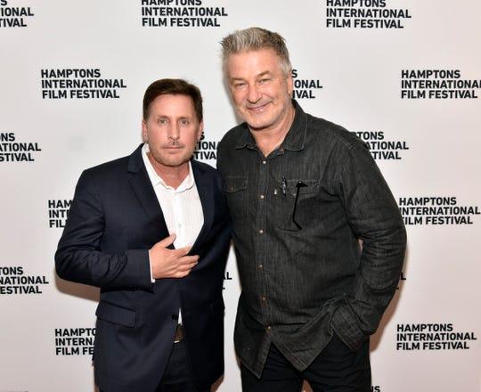 "Emilio Estevez (left), shown at the Hamptons International Film Festival with HIFF co-chairman Alec Baldwin in 2018 , co-star in ""The Public."""