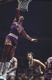 Connie Hawkins of the Phoenix Suns goes to the basket against the New York Knicks at Madison Square Garden in New York on Feb. 16, 1971.