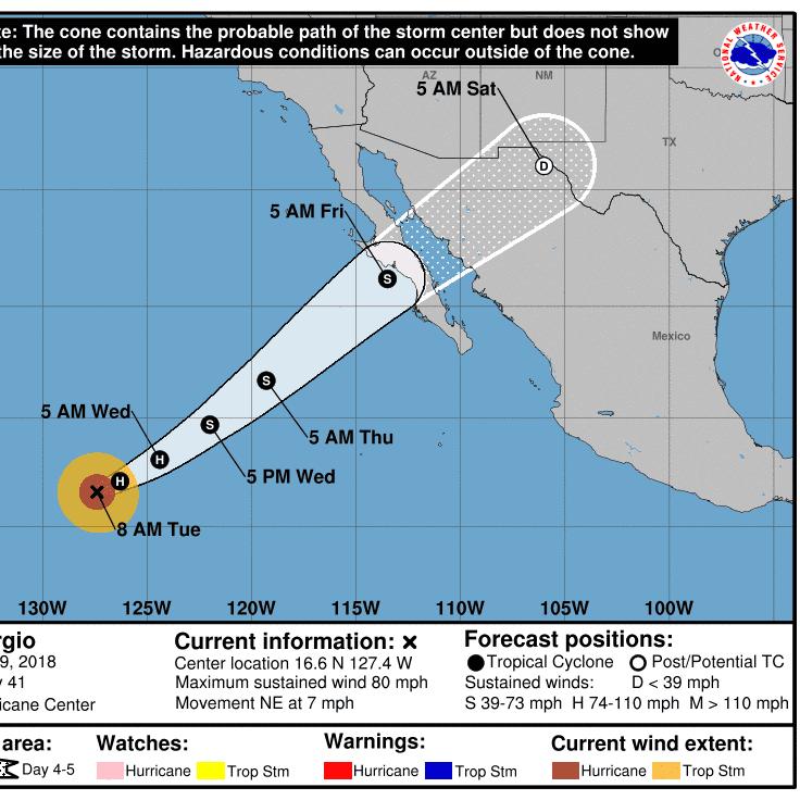 Is Hurricane Sergio headed for Arizona?