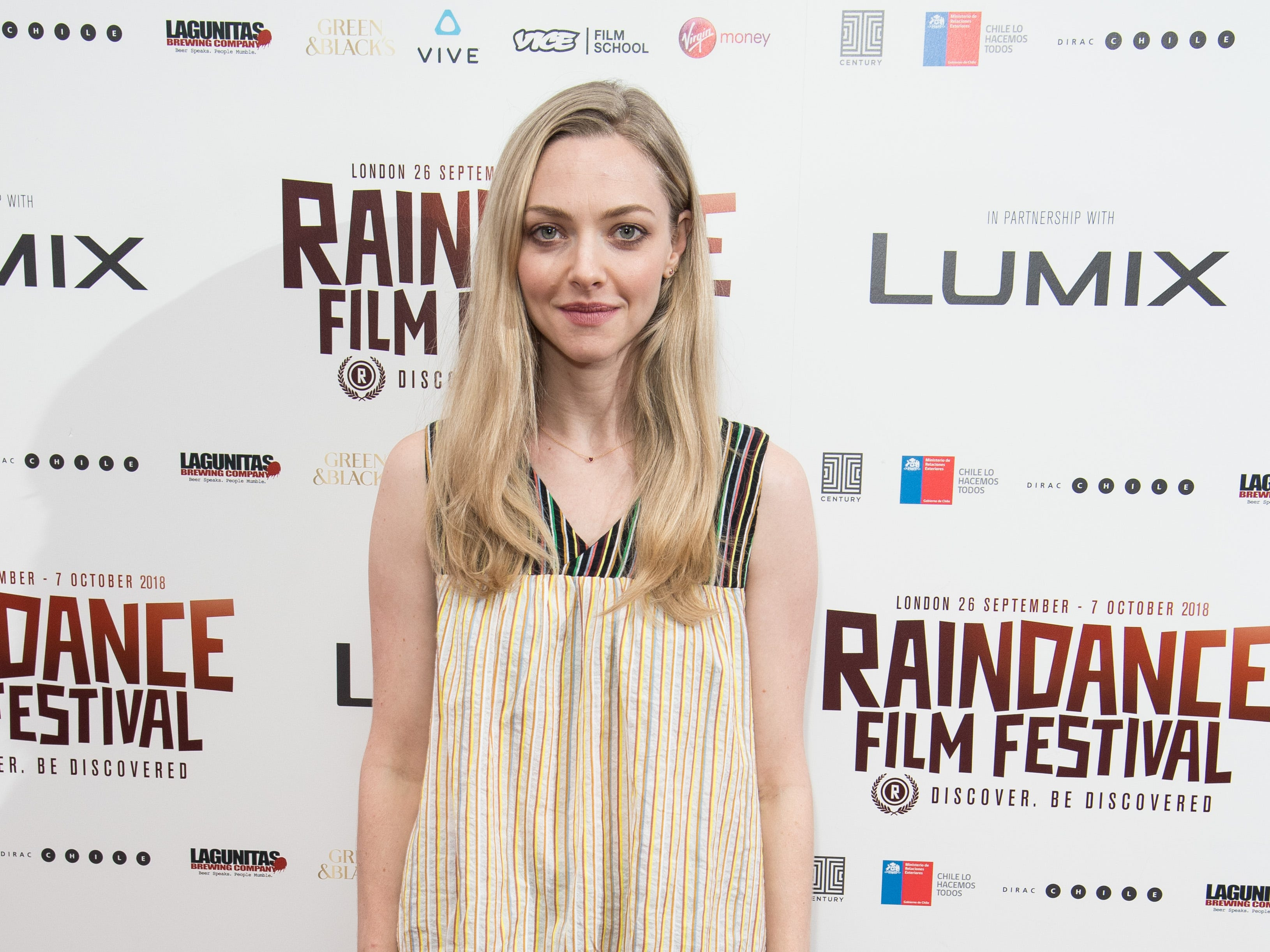 "Amanda Seyfried attends the World Premiere of ""Holy Moses"" during the Raindance Film Festival at Vue Piccadilly on October 6, 2018 in London, England."