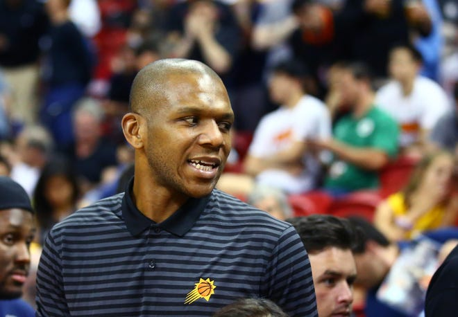 Phoenix Suns vice president of basketball operations James Jones watches the action against the Sacramento Kings during an NBA Summer League game ony Jul 7, 2018.