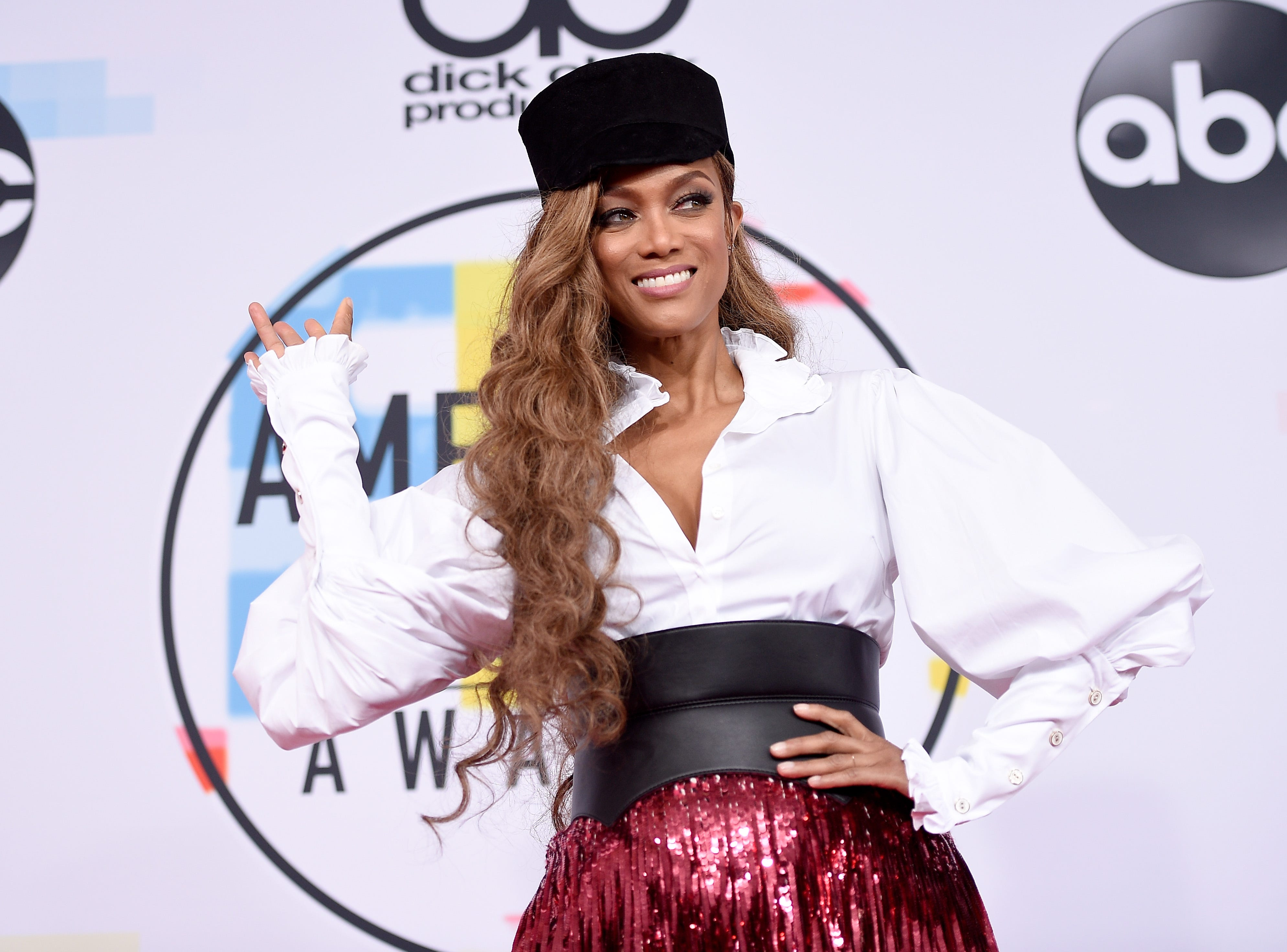 Tyra Banks attends the 2018 American Music Awards at Microsoft Theater on October 9, 2018 in Los Angeles, California.