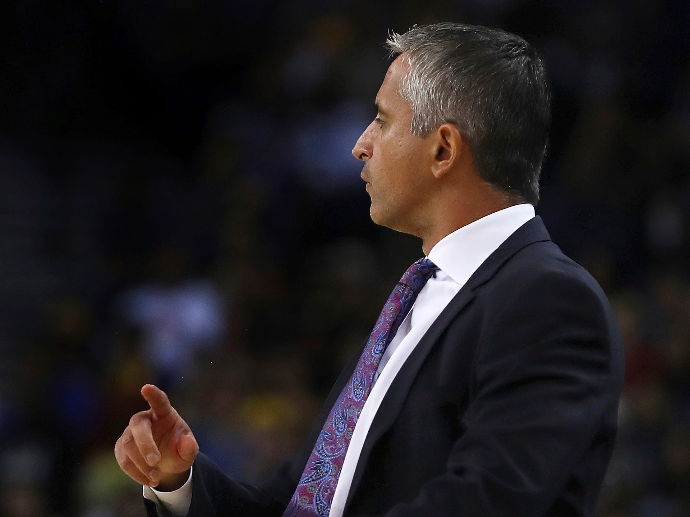 Phoenix Suns' coach Igor Kokoskov gestures during the first half of a preseason NBA basketball game against the Golden State Warriors Monday, Oct. 8, 2018, in Oakland, Calif.