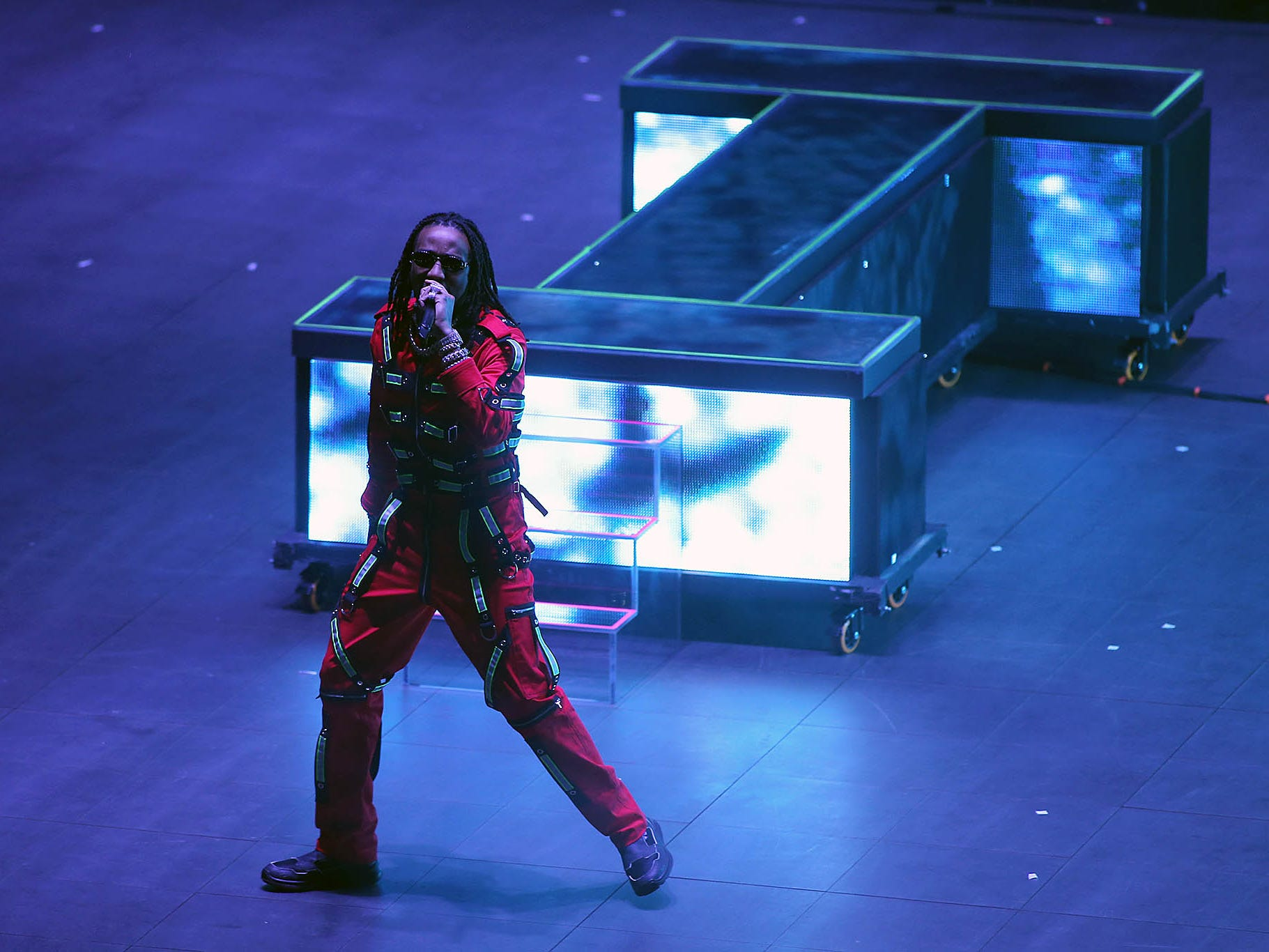 The Three Migos perform during Drake's Aubrey & The Three Migos Tour at Gila River Arena in Glendale on Monday, Oct. 8, 2018.
