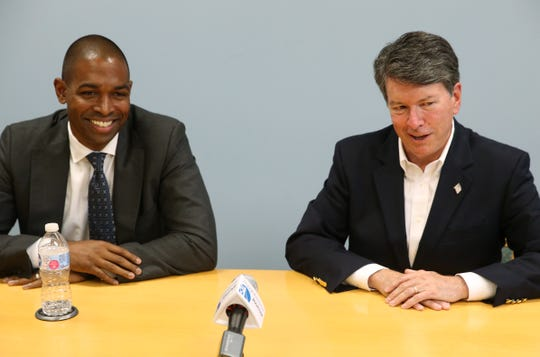 From left, Antonio Delgado Democratic candidate and John Faso, senator for New York's 19th congressional district during an editorial board meeting at the Poughkeepsie Journal on October 8, 2018.