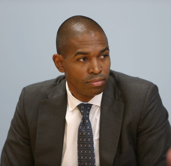 Antonio Delgado the Democratic candidate for New York's 19th congressional district during an editorial board meeting at the Poughkeepsie Journal on October 8, 2018.