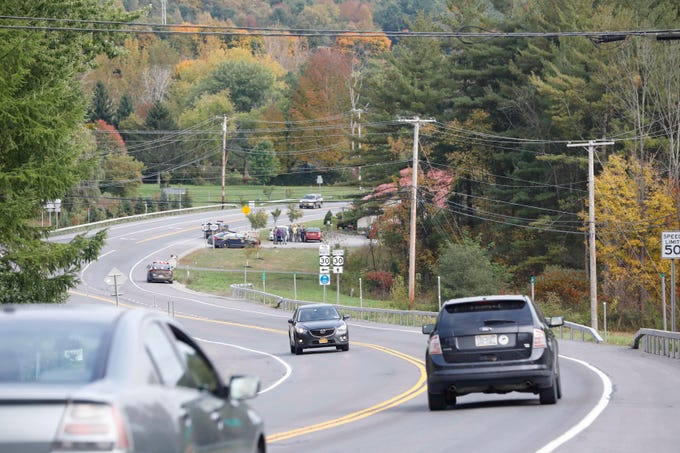 The scene at Route 30 and Route 30A in Schoharie, New York on Oct. 8, 2018, where a limousine car accident killed 17 passengers plus the driver and an additional 2 pedestrians on Saturday.