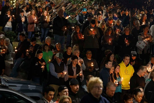 Thousands gather at the Mohawk Valley Gateway Overlook Bridge in the City of Amsterdam on Oct. 8, 2018, for a candlelight vigil for the 20 people who were killed in a limousine accident in Schoharie.
