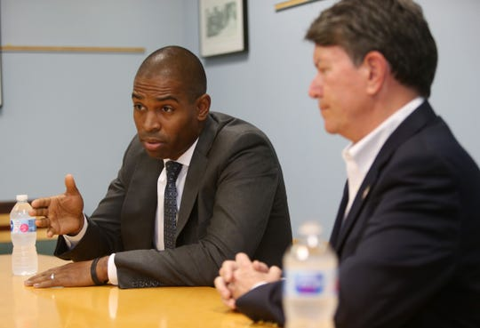 From left, Antonio Delgado, Democratic candidate, and John Faso, congressman for New York's 19th congressional district, during an editorial board meeting at the Poughkeepsie Journal on October 8, 2018.