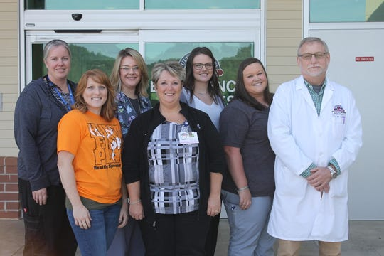 From left, Janelle Martin, MD., Samantha Smith, BSN, RN, CCRN, CFRN, Tracy Deneen, Amy Whitsell,CRNP, Elizabeth Fisher,RN Jordon Neman and Doug Stern D.O. Fulton County Medical Center has been accredited as a Level IV trauma center.