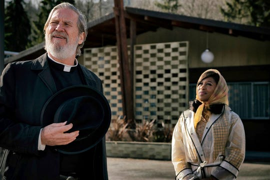 "Jeff Bridges, left, and Cynthia Erivo in  ""Bad Times at the El Royale."" The movie opens Oct. 11 at Regal West Manchester Stadium 13, Frank Theatres Queensgate Stadium 13 and R/C Hanover Movies."