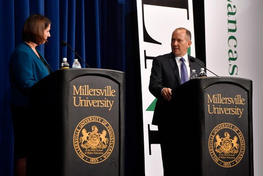 Pennsylvania 11th District candidate Jess King and incumbent Rep. Lloyd Smucker debate at the Millersville University Winter Visual and Performing Arts Center, Monday, Oct. 8, 2018.  John A. Pavoncello photo