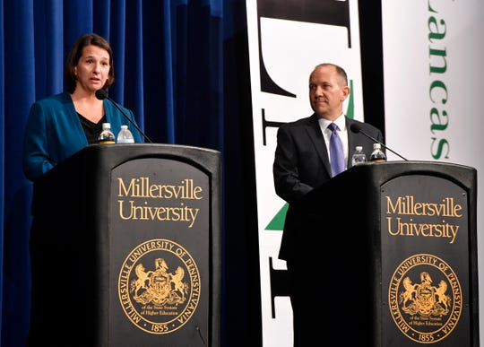 PA 11th District candidates Jess King and Incumbent Lloyd Smucker debate at the Millersville University's Winter Visual and Performing Arts Center, Monday, Oct. 8, 2018. John A. Pavoncello photo