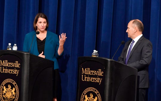 Pennsylvania 11th House District candidate Jess King and incumbent Rep. Lloyd Smucker debate at the Millersville University Winter Visual and Performing Arts Center, Monday, Oct. 8, 2018.  John A. Pavoncello photo