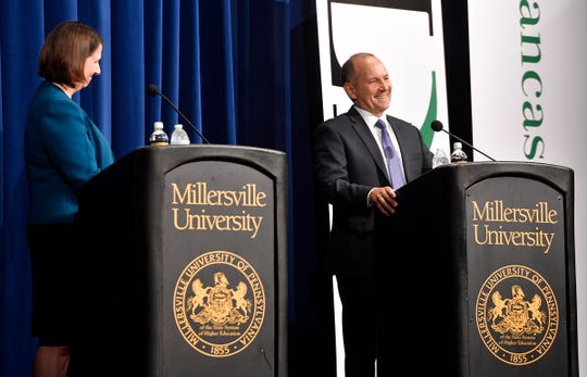 PA 11th District candidates Jess King and Incumbent Lloyd Smucker debate at the Millersville UniversityÕs Winter Visual and Performing Arts Center, Monday, Oct. 8, 2018. John A. Pavoncello photo