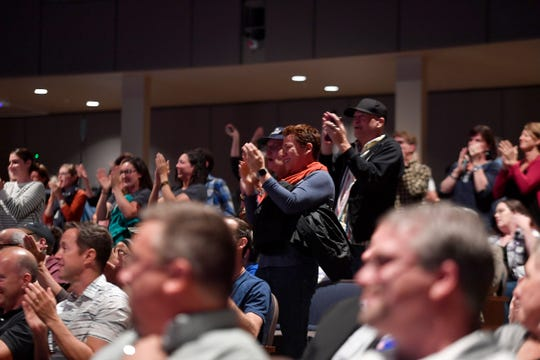 Supporters of Jess King cheer as the candidate for the 11th District is introduced for a debate with incumbent Rep. Lloyd Smucker,  Monday, Oct. 8, 2018.  John A. Pavoncello photo