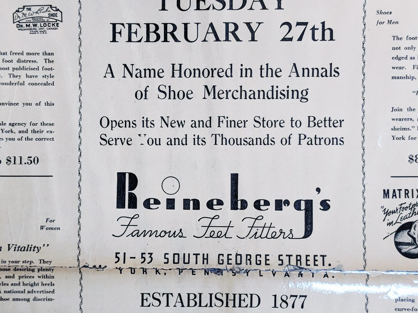 Reineberg's Shoe store in an advertisement from 1940 announcing the new location on South George Street.