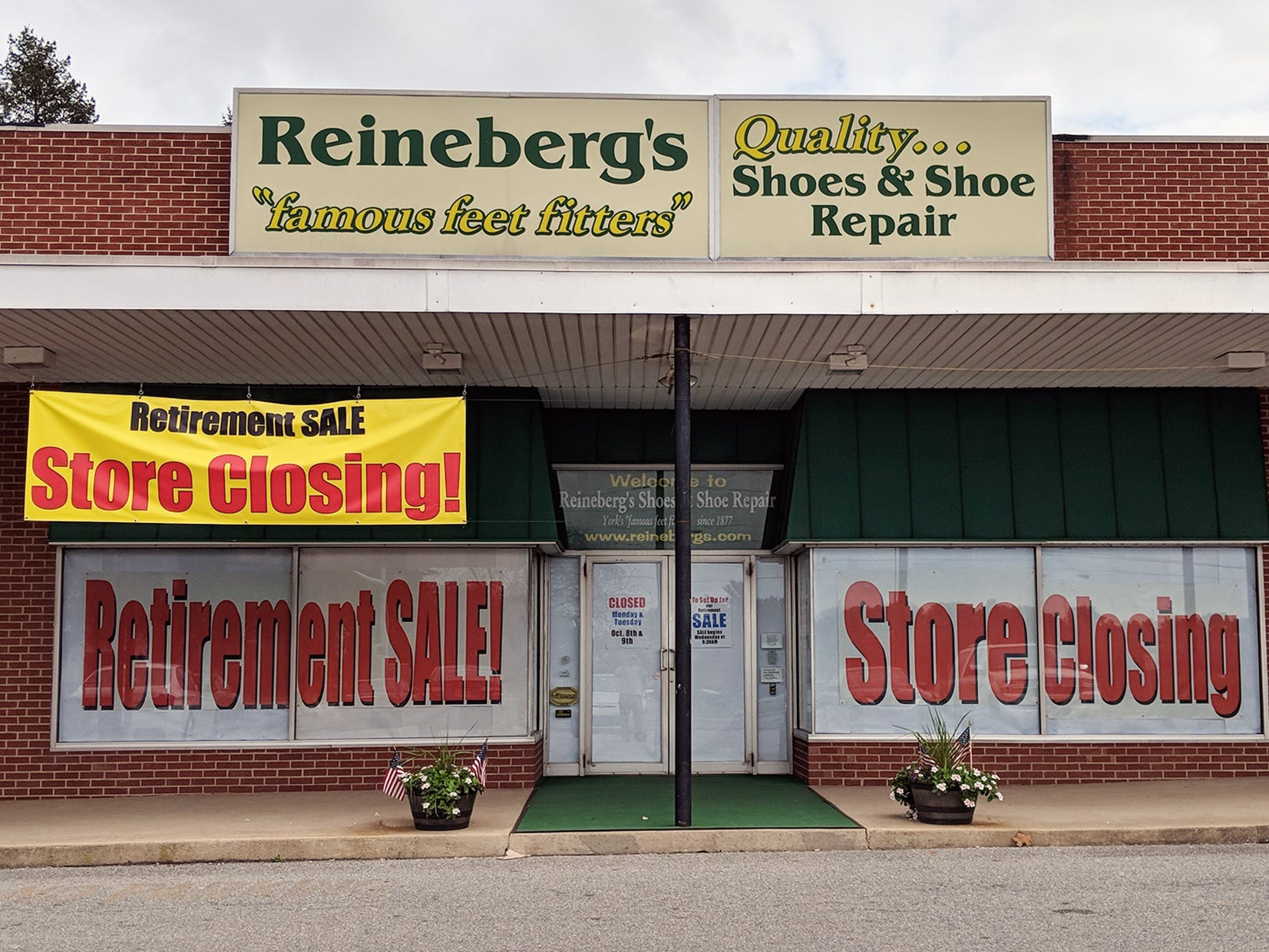 Reineberg's shoe store, in Springettsbury Township, is going out of business after 141 years, first opening in downtown York. The owners are retiring.