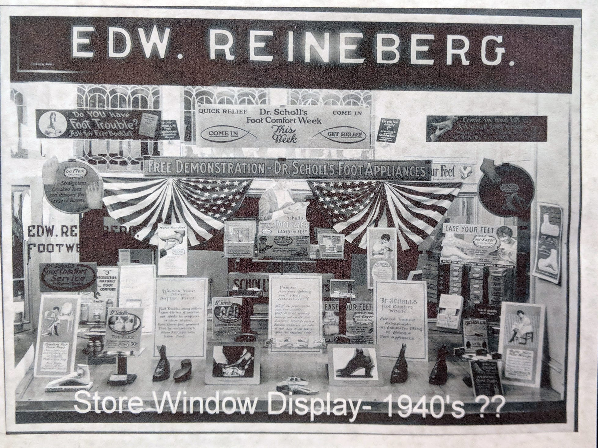 A window display in the Reineberg's Shoe store possibly from the 1940's.