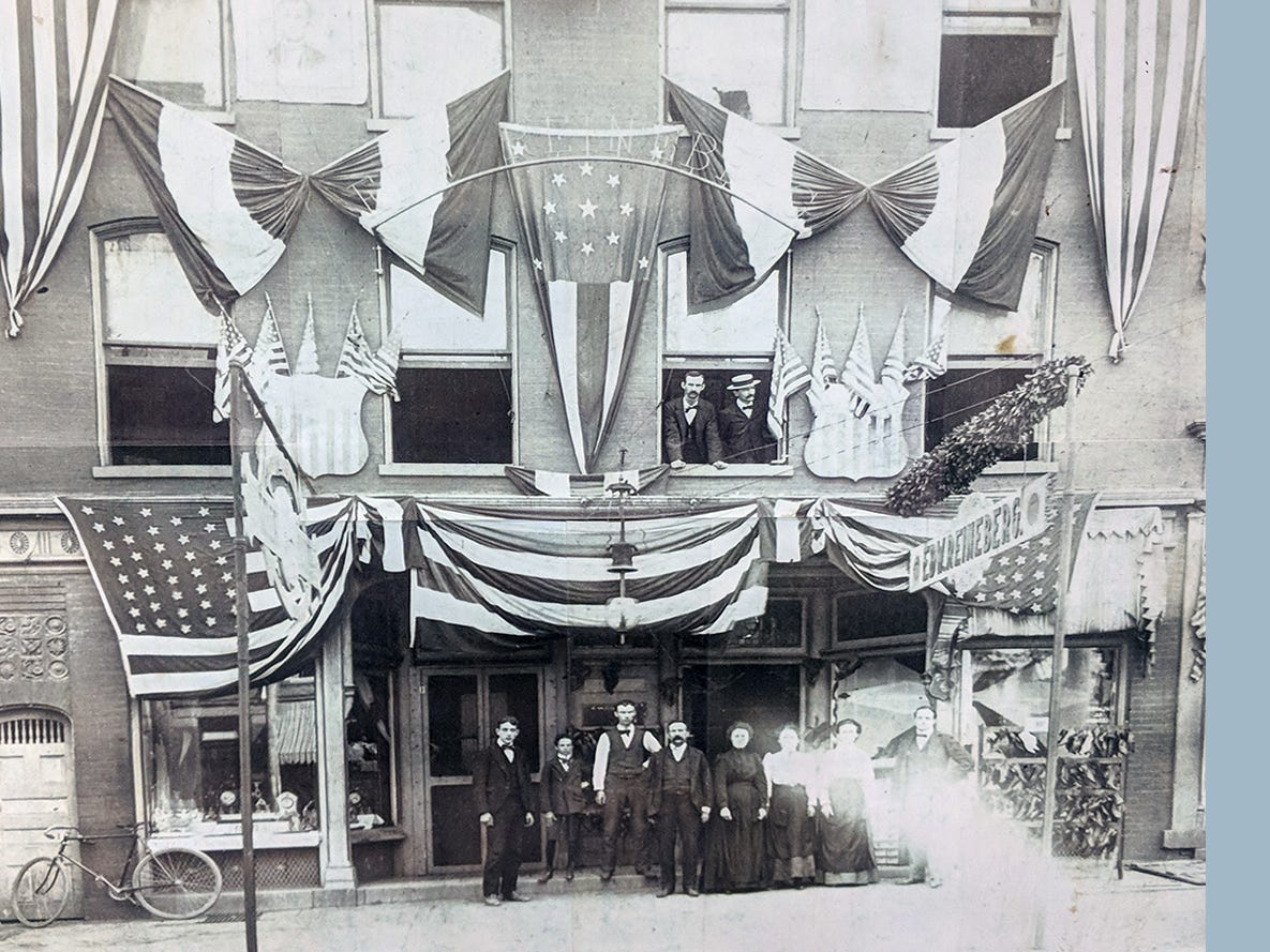 Reineberg's Shoe store during the 150th anniversary of York in the 1890s.