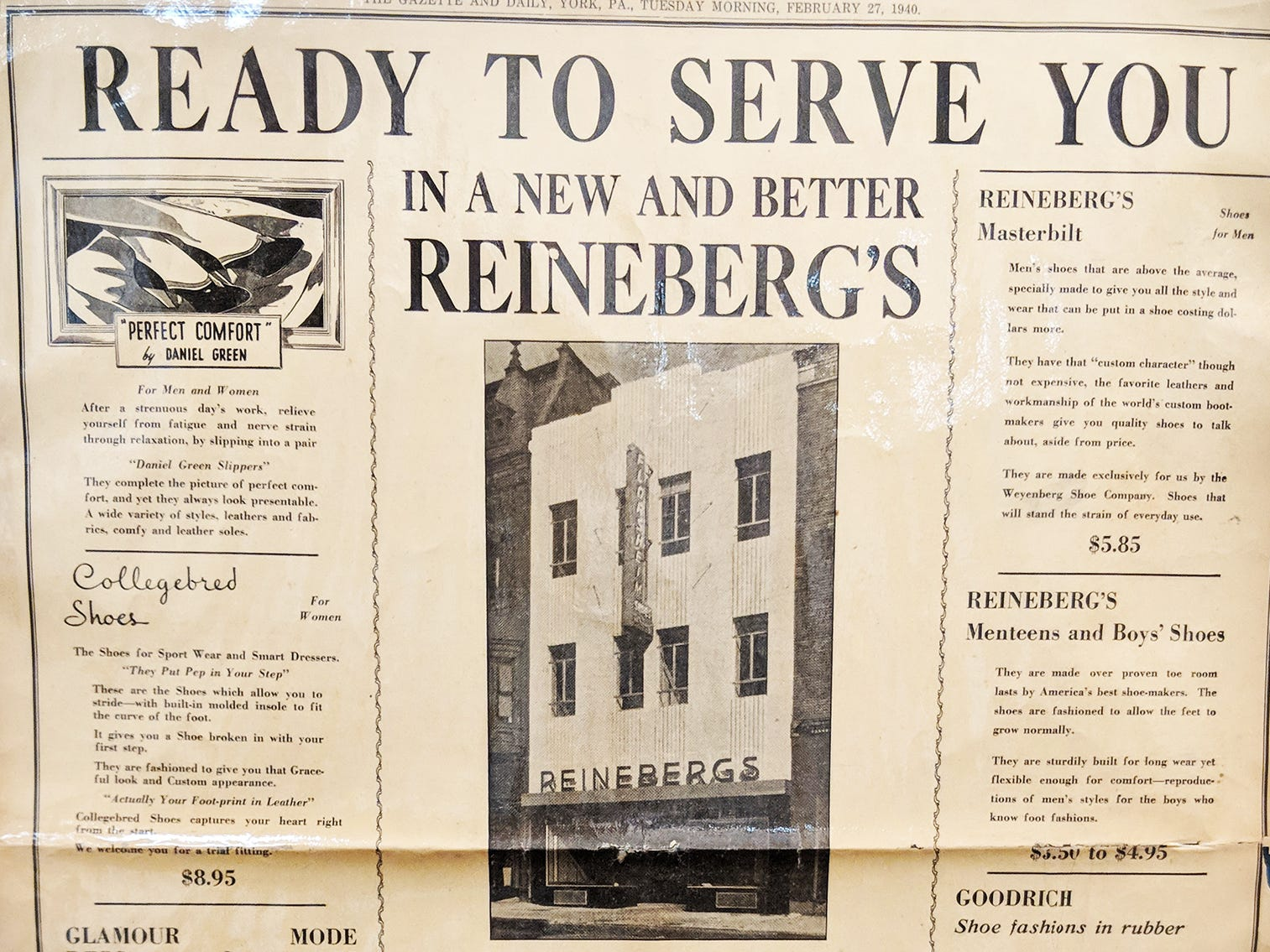 Reineberg's Shoe store in a Gazette & Daily advertisement from 1940 announcing the new store location.