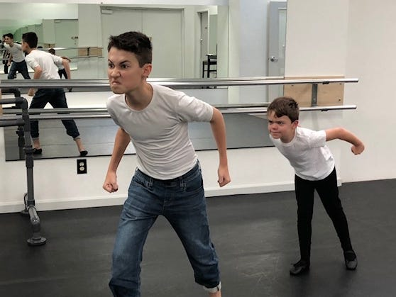 "SNB trainee Jacob Sheridan teaches the role of ""Fritz"" to Thomas Pillar."