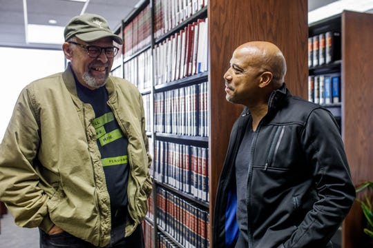 Actor Lester Purry and Director Lou Bellamy of Geva Theatre Center's production of Thurgood. Photos by Goat Factory Media Entertainment taken at the library of Harter Secrest & Emery, LLP, co-producer of Thurgood.